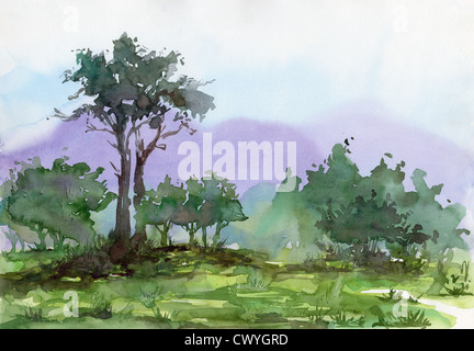 Watercolor painting on art paper - Stock Image