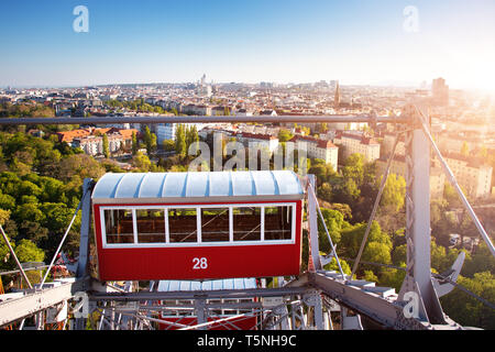 Aerial view to Vienna in Austria from Ferris Wheel - Stock Image