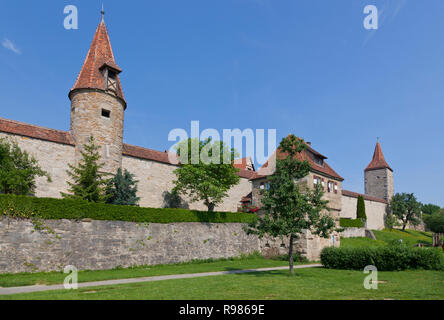 Red tiled towers in the western part of the medieval city ring wall around Rothenburg ob der Tauber, Franconia, Bavaria, Germany. - Stock Image