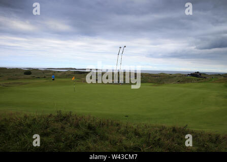 19th July, Portrush, Country Antrim, Northern Ireland; The 148th Open Golf Championship, Royal Portrush, Round Two ; a view of the par three 16th hole - Stock Image