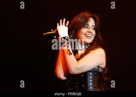 SÃO PAULO, BRAZIL - OCTOBER 14: Camila Cabello performs Never be The same tour during Z Festival  at Allianz Park. October, 14, 2018 in São Paulo, Brazil Credit: Adriana Spaca/Alamy Live News - Stock Image