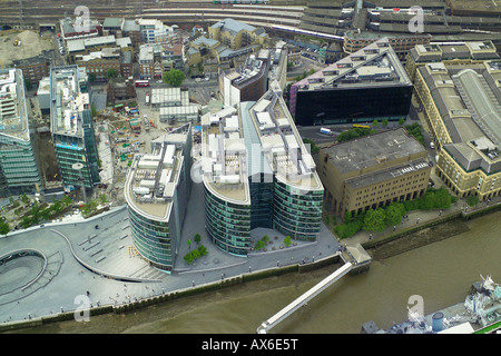 Aerial view of the More London area of Southwark on the South Bank of the River Thames in London - Stock Image