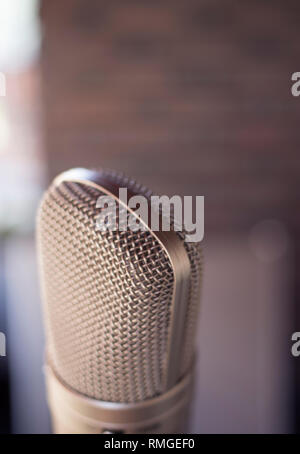 Sound recording studio large diaphragm voice microphone for voiceover, singing and instruments. - Stock Image