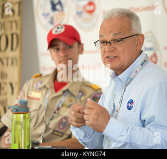 "NASA Acting Chief Technologist Douglas Terrier leads a discussion titled ""NASA Technologies for Explorers on Earth"" - Stock Image"