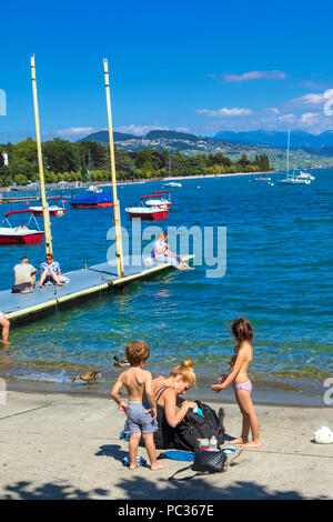 The Geneva lake at Lausanne - Stock Image