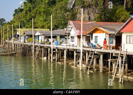 Thailand, Phang-Nga, Ko Panyi.  The Muslim fishing village of Ko Panyi. - Stock Image