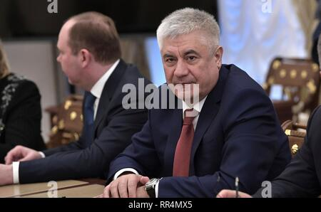 Moscow, Russia. 22nd Feb, 2019. Russian Interior Minister Vladimir Kolokoltsev, right, before the start of the permanent members of the Security Council of the Russian Federation meeting at the Kremlin February 22, 2019 in Moscow, Russia. Credit: Planetpix/Alamy Live News - Stock Image