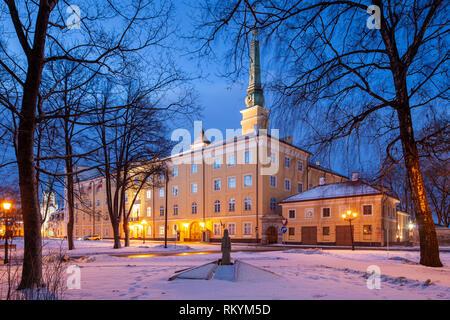 Winter dawn at Riga Castle. - Stock Image