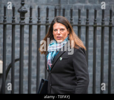Lodnon, UK. 19th Mar 2019. Caroline Nokes, Minister of State for Immigration arrives in Downing Street for weekly cabinet meeting. Credit: Malcolm Park/Alamy Live News. - Stock Image