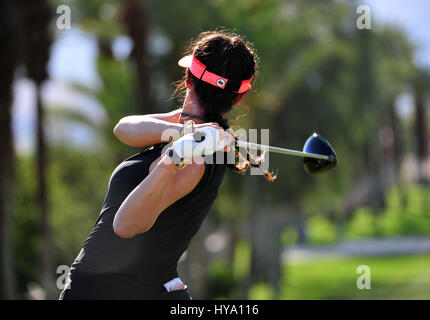 Rancho Mirage, California, USA. 2nd Apr, 2017. Michelle Wie on the 15th tee during the final round of the ANA Inspiration - Stock Image