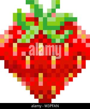Strawberry Pixel Art 8 Bit Video Game Fruit Icon - Stock Image