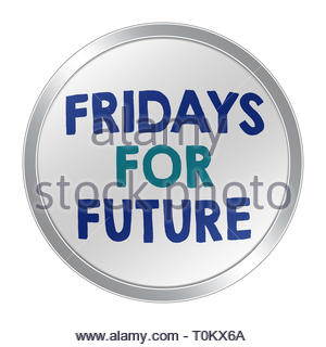 Fridays for future button - Stock Image