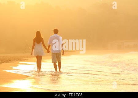 Back view of a happy couple holding hands at sunset walking on the beach - Stock Image