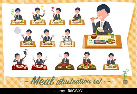 A set of businessman about meals.Japanese and Chinese cuisine, Western style dishes and so on.It's vector art so it's easy to edit. - Stock Image