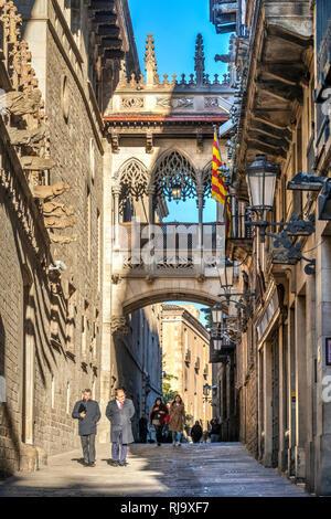 Carrer del Bisbe street, Gothic Quarter, Barcelona, Catalonia, Spain - Stock Image
