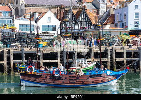 Hispaniola pirate ship in Scarborough Harbour, Scarborough, North Yorkshire, England, United Kingdom - Stock Image