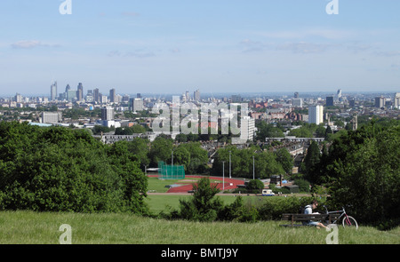 London skyline view from Parliament Hill Hampstead Heath June 2010 - Stock Image