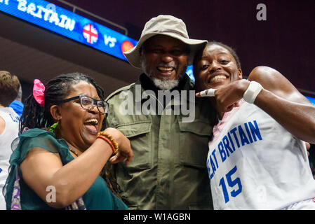Riga, Latvia. 1st of July, 2019. Temi Fagbenle (R). Great Britain's Women's basketball team celebrates win against Montenegro, during qualification match to 1/4 final at  FIBA Women's Eurobasket 2019 in Riga , Latvia. Credit: Gints Ivuskans/Alamy Live News - Stock Image