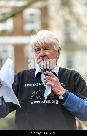 Stanley Johnson speaking at a stop trophy hunting and ivory trade protest rally, London, UK. Father of Boris Johnson - Stock Image