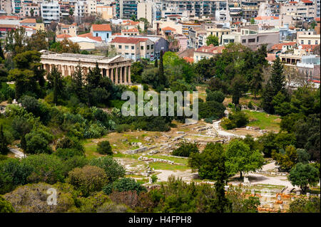 Athens, Greece. View from Areopagus below the Acropolis.  With the Temple of Hephaestus. - Stock Image
