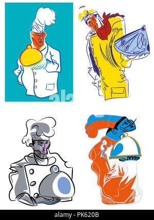 Chef with serving tray.  illustrations featuring chef wearing a chef's costume and holding serving tray. - Stock Image