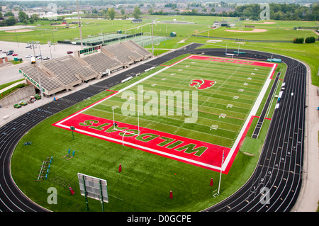USA, Indiana, Indianapolis high school athletic field for football and track, seen from the air. - Stock Image