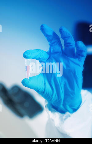 Hand holding test sample in lab, blue gloves. - Stock Image