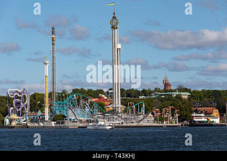 Grona Lundan amusement park in Stockholm, Sweden. It is on the seaward side of Djurgarden Island. - Stock Image