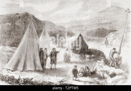 The laying of the Atlantic Telegraph cable.  Encampment of workmen of the telegraph company on the road between Killarney and Valentia Island, Ireland.  From The Illustrated London News, published 1865. - Stock Image