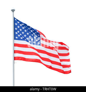 American flag on flagpole. Isolated on white, clipping path included - Stock Image