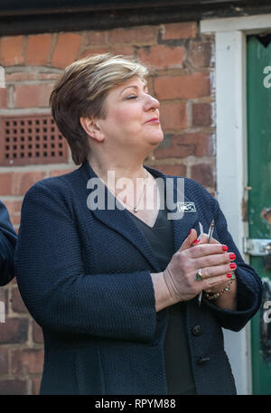 Emily Thornberry M.P. speaking on labour's plan for a fairer Britain at a rally in Beeston, Nottingham - Stock Image