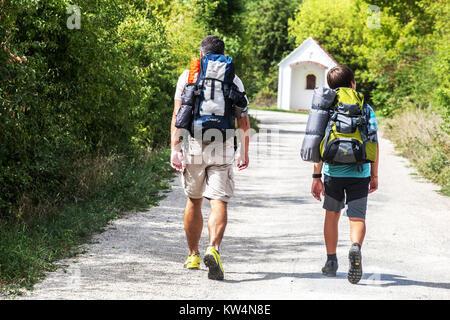 Podyjí National Park, hikers, wine trails, South Moravia, Czech Republic - Stock Image