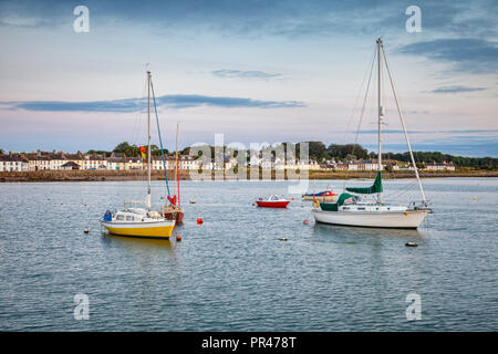 Boats moored in the harbour of the fishing village of Garlieston in Wigtownshire, Dumfries and Galloway, Scotland. - Stock Image