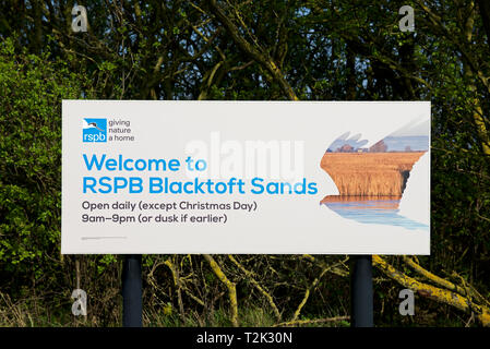 Sign welcoming visitors to RSPB Blacktoft Sands, a nature reserve in East Yorkshire, England UK - Stock Image