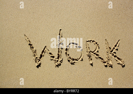 'Worry' written out in wet sand. Please see my collection for more similar photos. - Stock Image