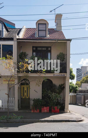 A double story terrace house in Commonwealth Street, Surry Hills, Sydney, Australia - Stock Image