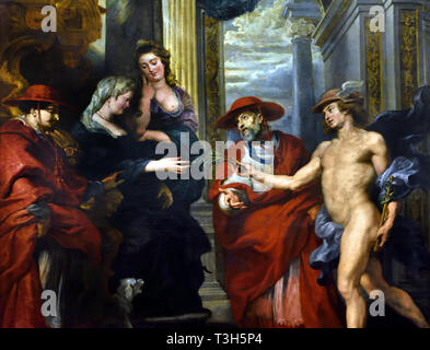The Negotiations at Angoulême, Marie de' Medici genially takes the olive branch from Mercury, the messenger god - The Marie de' Medici Cycle 1622-1624  by Peter Paul Rubens commissioned by Queen Marie de' Medici, widow of King Henry IV of France, for the Luxembourg Palace in Paris, - Stock Image