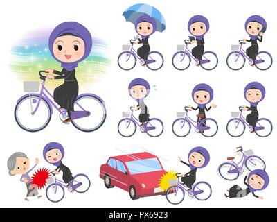 A set of women wearing hijab riding a city cycle.There are actions on manners and troubles.It's vector art so it's easy to edit. - Stock Image