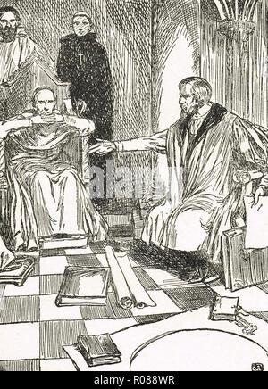 Christopher Columbus before the commission of ecclesiastics in Salamanca, circa 1487 - Stock Image