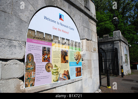 Sign outside Norwich Castle Museum, Norfolk - Stock Image