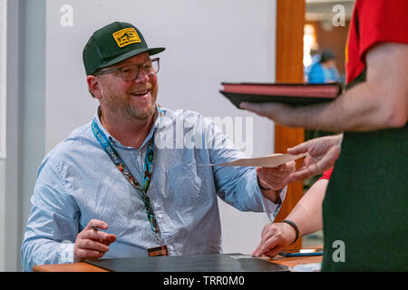 Bonn, Germany - June 8 2019: Robert Duncan McNeill (*1964, American actor and director - Star Trek: Voyager) is happy to meet fans at FedCon 28 - Stock Image
