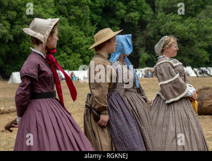 Duncan Mills, CA - July 14, 2018: Ladiesdressed in costume at a civil war re-enactement. The Civil War Days is one of the largest reenactment events o - Stock Image