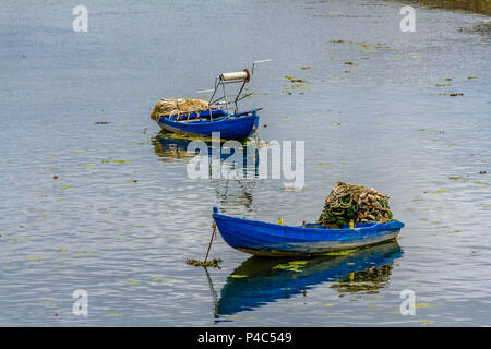 Traditional fishing boats cobles used for netting salmon on the River Tweed, Berwick upon Tweed, Northumberland. 2018. - Stock Image