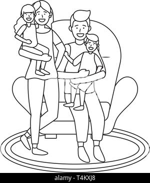 couple with children avatar cartoon character sitting on a couch black and white vector illustration graphic design - Stock Image