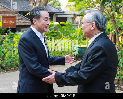 Chiang Mai, Thailand. 16th Feb, 2019. Visiting Chinese State Councilor and Foreign Minister Wang Yi (L) and Thai Foreign Minister Don Pramudwinai hold strategic consultations in Chiang Mai, Thailand, on Feb. 16, 2019. Credit: Zhang Keren/Xinhua/Alamy Live News - Stock Image