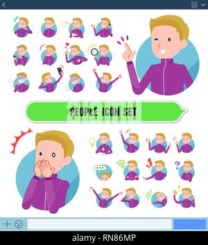 A set of school boy in sportswear with expresses various emotions on the SNS screen.There are variations of emotions such as joy and sadness.It's vect - Stock Image