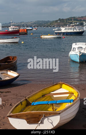 Boats Moored on The River Teign viewed from the Back Beach at Teignmouth in South Devon, England, UK - Stock Image