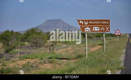 Entry sign of the Mountain Zebra National Park, out of Cradock South Africa. - Stock Image