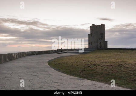 O'Brien's Tower at the Cliffs of Moher along the Wild Atlantic Way in County Clare in Ireland - Stock Image