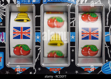 Close up detail of a fruit machine with Union Jack symbols - Stock Image